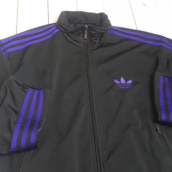 Adidas Large Track Jacket Purple Stripes Mens Zip
